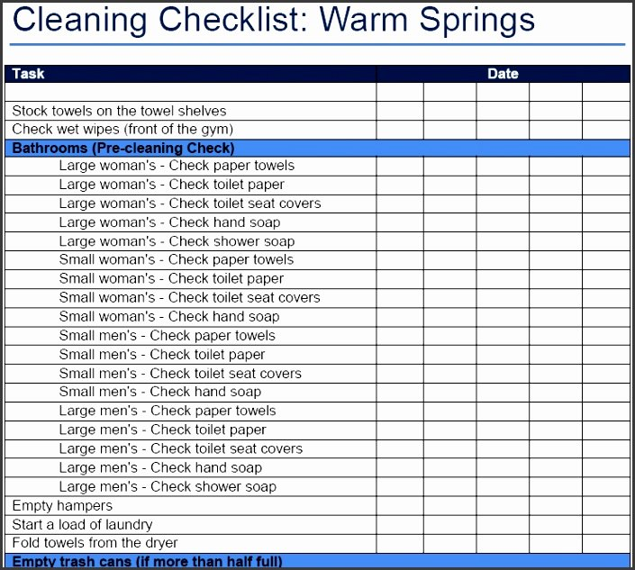 Cleaning Schedule Template Excel Awesome 10 Cleaning Checklist Template Sampletemplatess