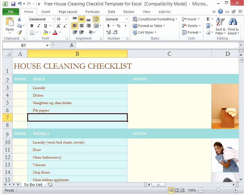 Cleaning Schedule Template Excel Awesome Housekeeping Checklist format for Fice In Excel