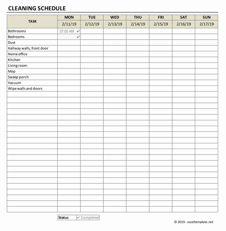 Cleaning Schedule Template Excel Best Of Cleaning Schedule Template Exceltemplate