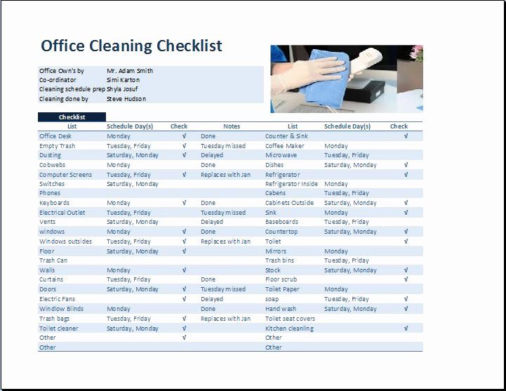 Cleaning Schedule Template Excel Best Of Mercial Fice Cleaning Checklist Template