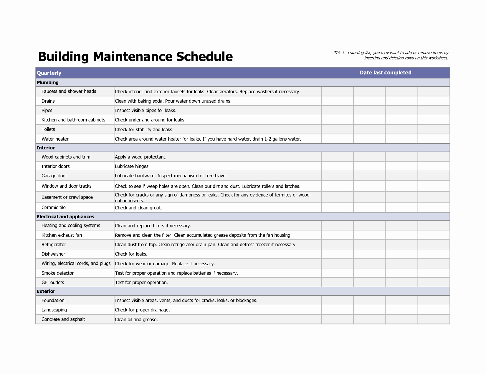 Cleaning Schedule Template Excel Elegant Building Maintenance Schedule Excel Template In 2019