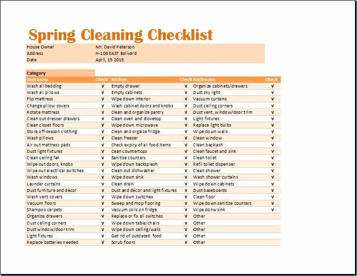 Cleaning Schedule Template Excel Elegant Ms Excel Spring Cleaning Checklist Template
