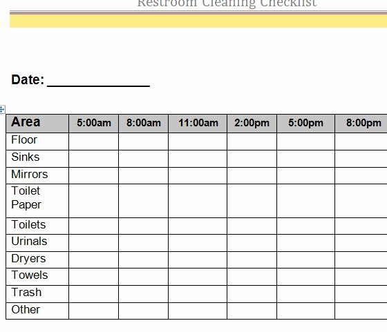 Cleaning Schedule Template Excel Fresh Restroom Cleaning Checklist My Excel Templates
