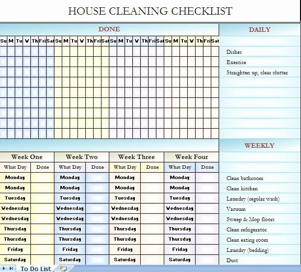 Cleaning Schedule Template Excel Unique House Cleaning Checklist It S In Excel so You Can Change