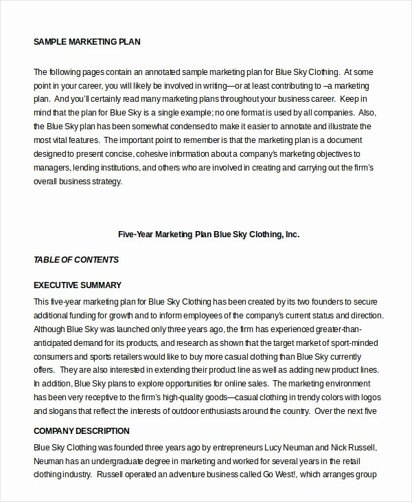 Clothing Line Business Plan Template Beautiful Marketing Plan Template 30 Free Word Excel Pdf Ppt