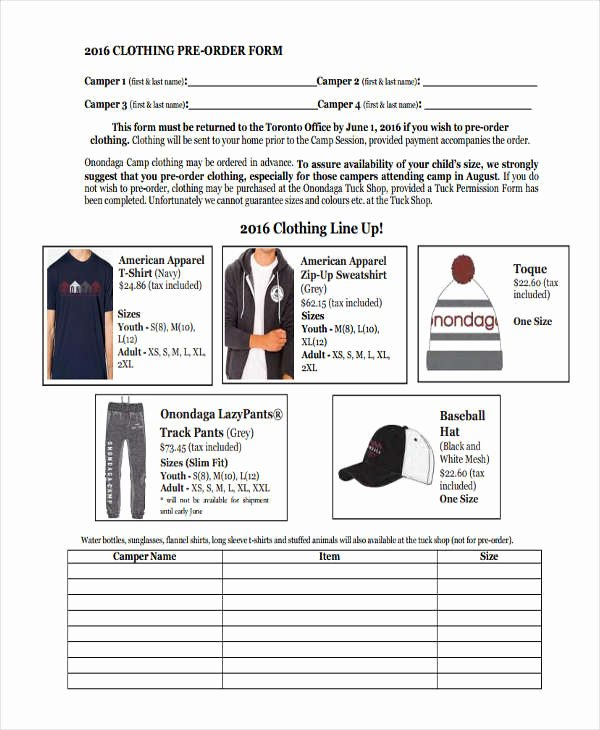 clothing order form