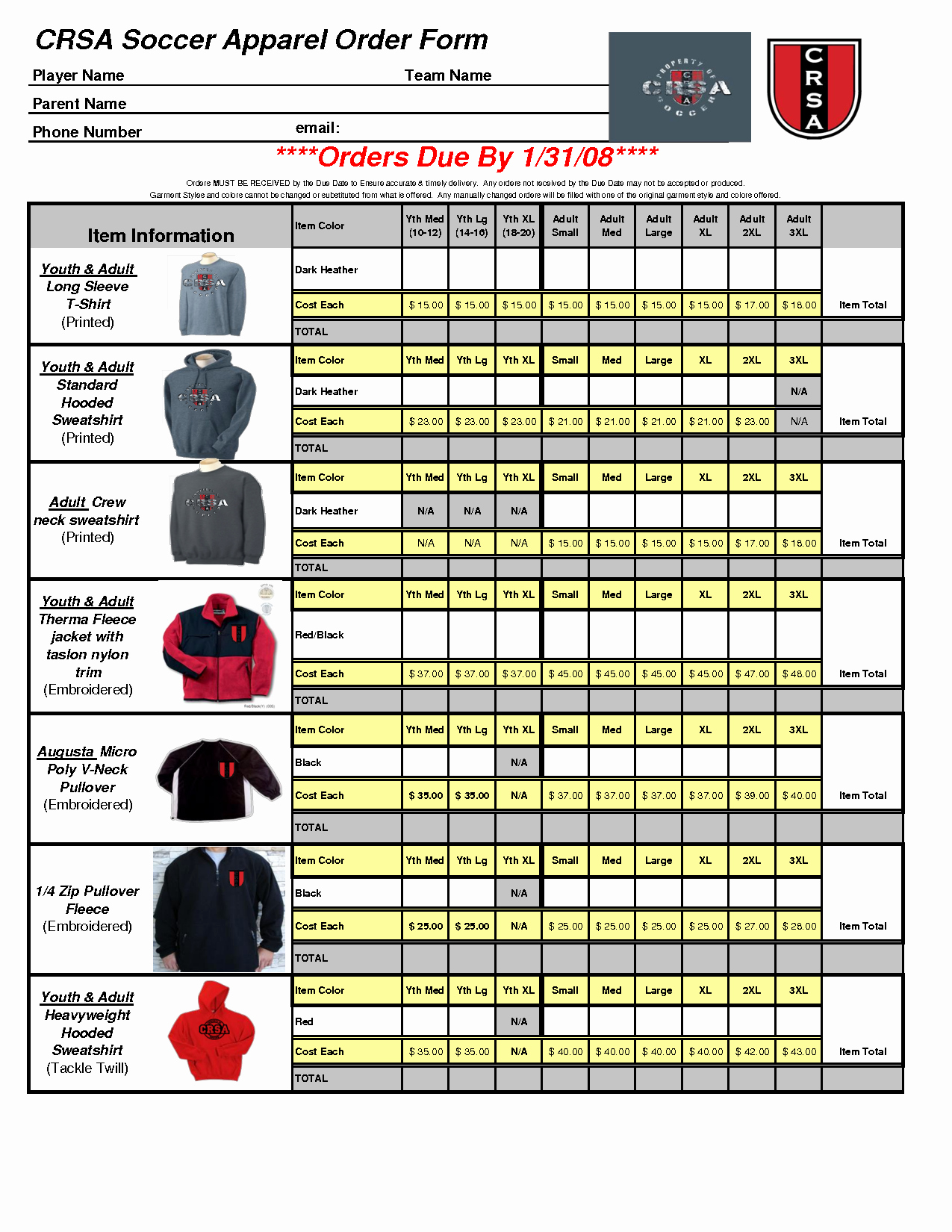 Clothing order form Template Excel Best Of Excel Template for T Shirt order form