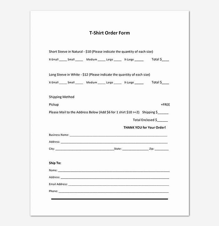 Clothing order form Template Excel Elegant T Shirt order form Template 17 Word Excel Pdf