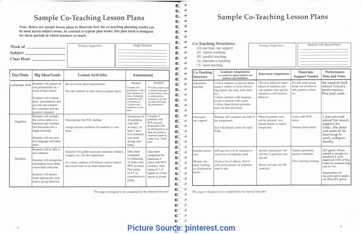 Co Teaching Lesson Plan Template Elegant Interesting Classroom Lesson Plans Printable Co Teaching