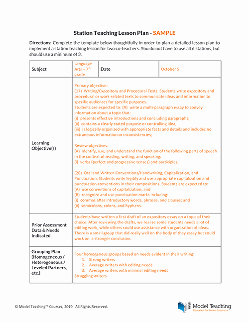 Co Teaching Lesson Plan Template New Station Teaching and Alternative Teaching Two Effective