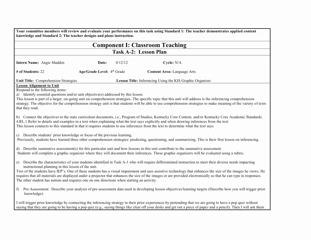 Co Teaching Planning Template Beautiful Ktip Sample Lesson Plan New Window