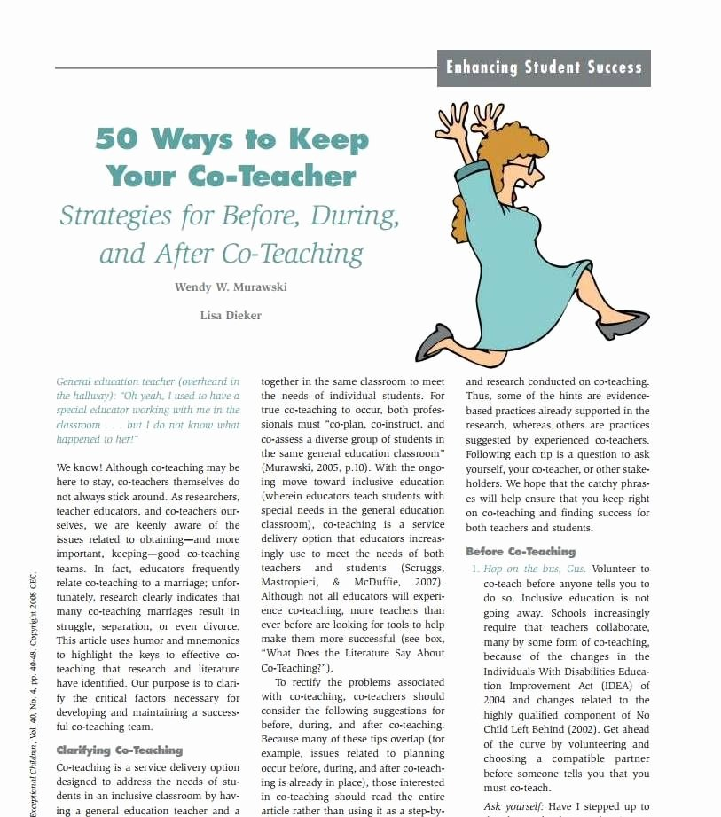 Co Teaching Planning Template Inspirational 50 Ways to Keep Your Co Teacher Strategies for before