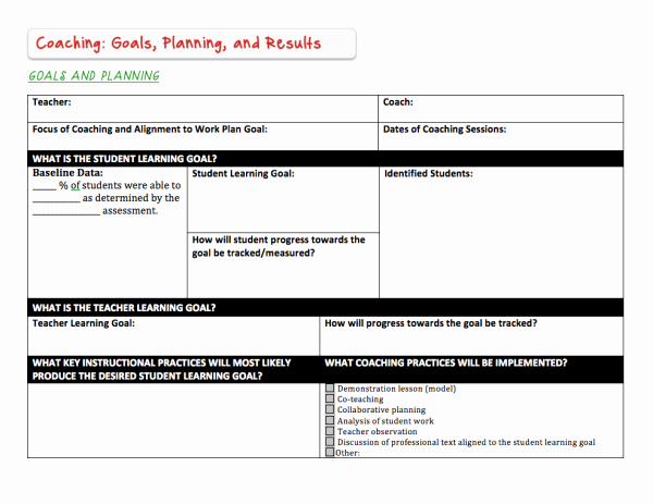 "Co Teaching Planning Template Inspirational Instructional Coaching tools ""goals & Planning"