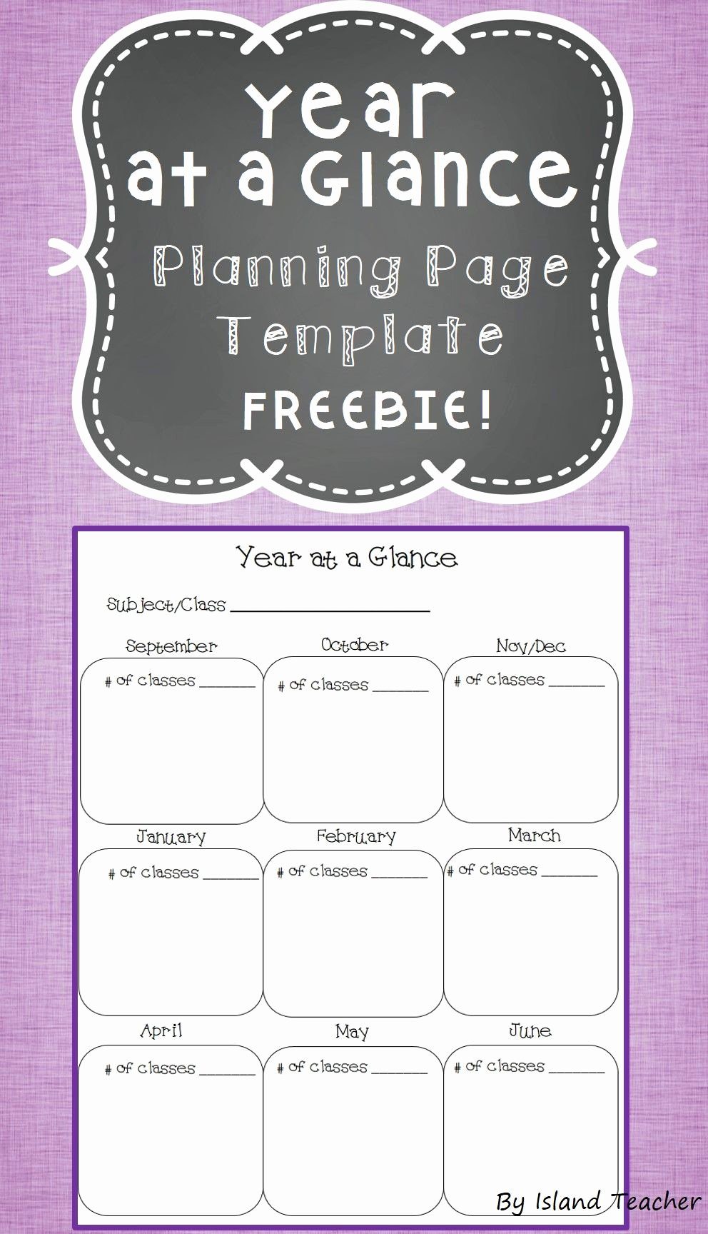 Co Teaching Planning Template Lovely Year at A Glance Planning Page Template Freebie