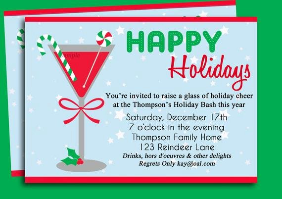 Cocktail Party Invitation Template Awesome Christmas Cocktail Party Invitation Printable Holiday