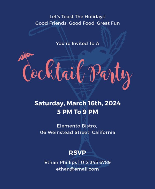 Cocktail Party Invitation Template Best Of Invitation Card Template 27 Free Sample Example format