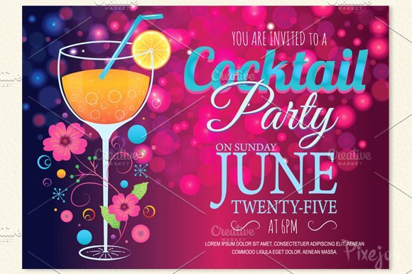 Cocktail Party Invitation Template Elegant Cocktail Party Invitation Card Postcard Templates