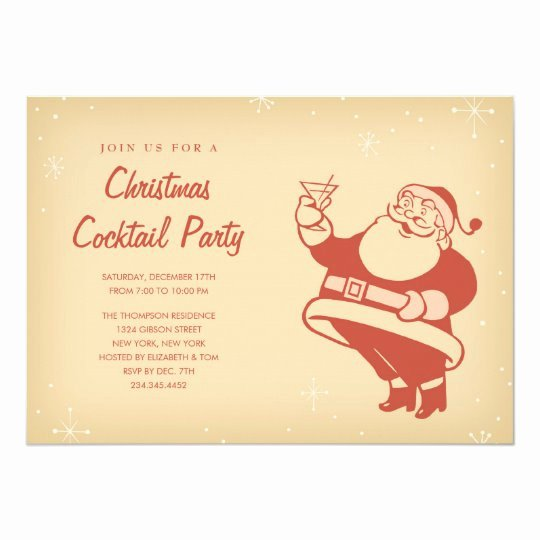 Cocktail Party Invitation Template Elegant Retro Christmas Cocktail Party Invitations
