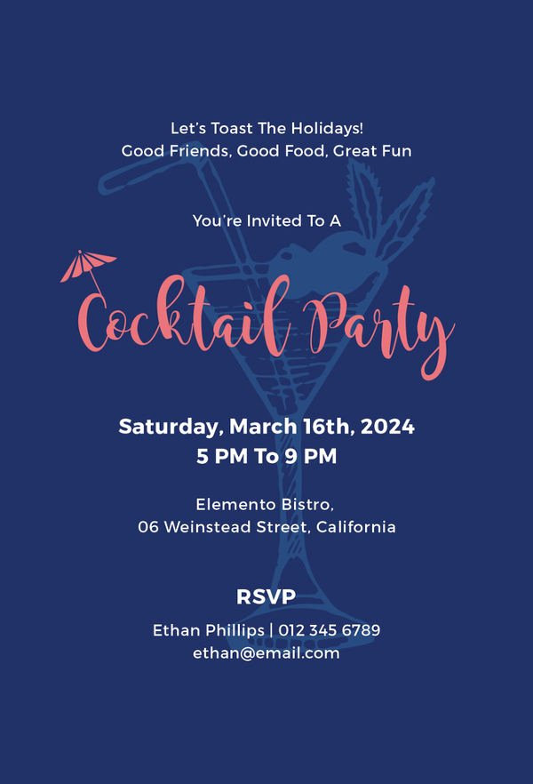 Cocktail Party Invitation Template Inspirational Cocktail Party Invitation Templates 10 Free Psd Vector