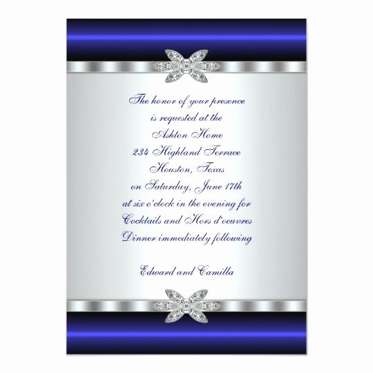 Cocktail Party Invitation Template Lovely Silver & Blue Cocktail Party Invitation Template