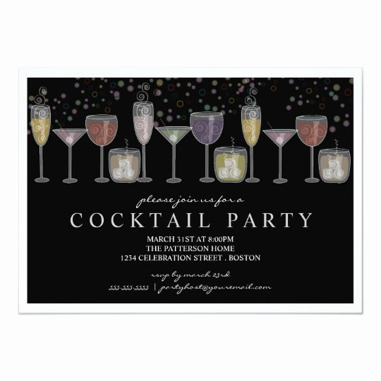 Cocktail Party Invitation Template Luxury Retro Drinks and Bubbles Cocktail Party Invitation