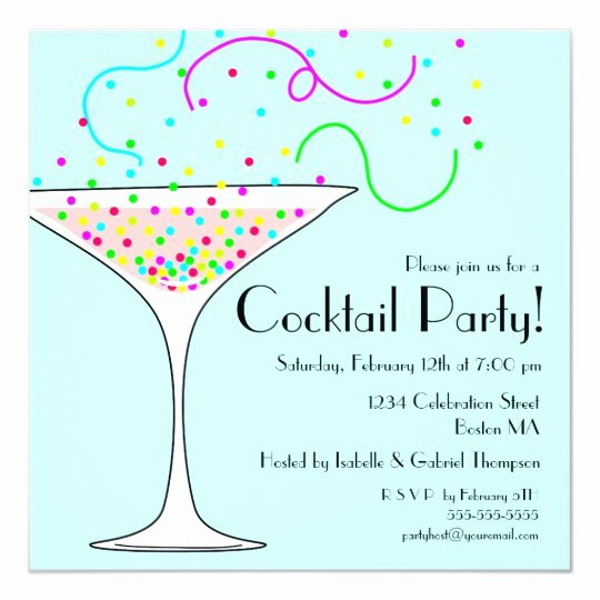 Cocktail Party Invitation Template Unique Confetti Cocktail Party Invitation
