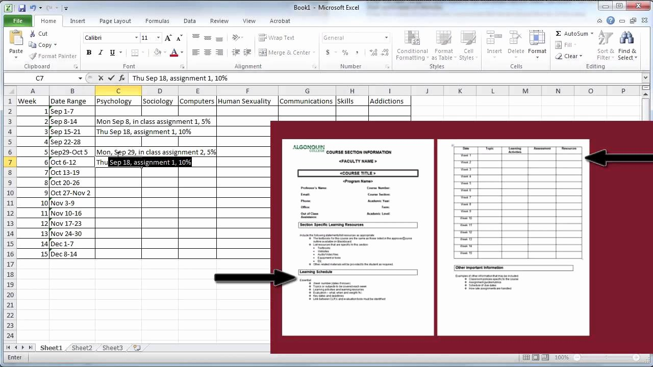College Course Planning Template Best Of Create A Semester Plan In Excel