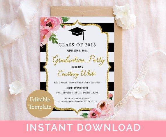 College Graduation Invitation Template Beautiful Floral Graduation Party Invitation Template Kate Grad