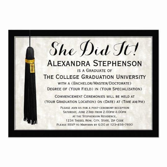 College Graduation Invitation Template Unique She Did It Tassel College Graduation Card