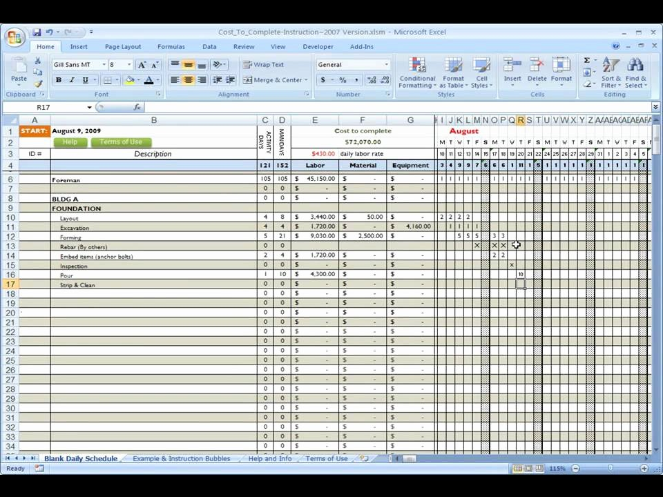 Commercial Construction Schedule Template Inspirational Construction Cost to Plete Using Excel