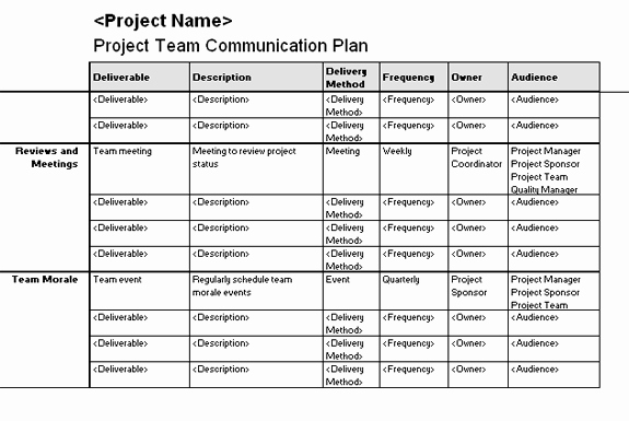 Communication Plan Template Excel Awesome Project Team Munication Plan Template for Excel 2003
