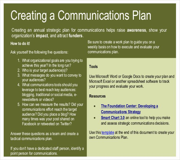 Communication Plan Template Free Fresh Writing A Strategic Munication Plan