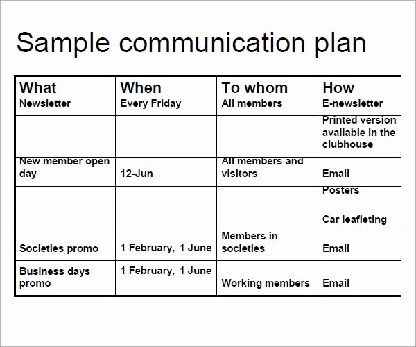 Communication Plan Template Free Lovely Munication Plan Template