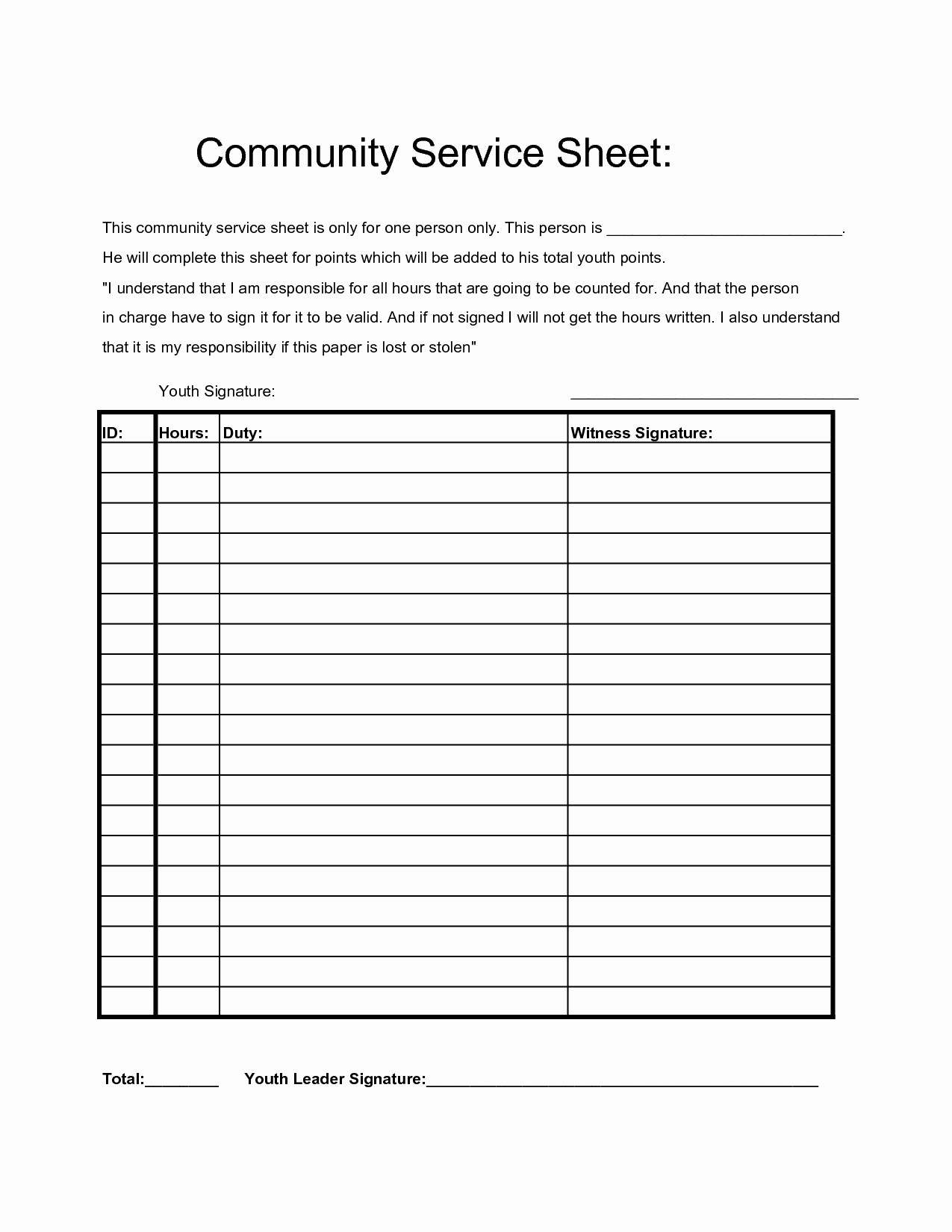Community Service Hours form Template Beautiful Munity Service Hours Sheet