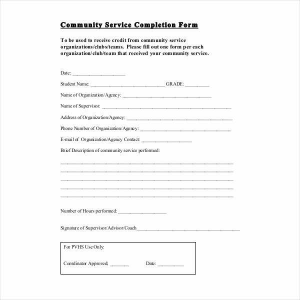 Community Service Hours form Template Best Of 12 Sample Munity Service forms