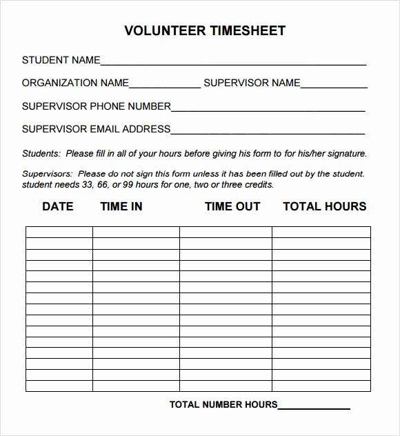 Community Service Hours form Template Inspirational Free 10 Volunteer Timesheet Samples In Google Docs