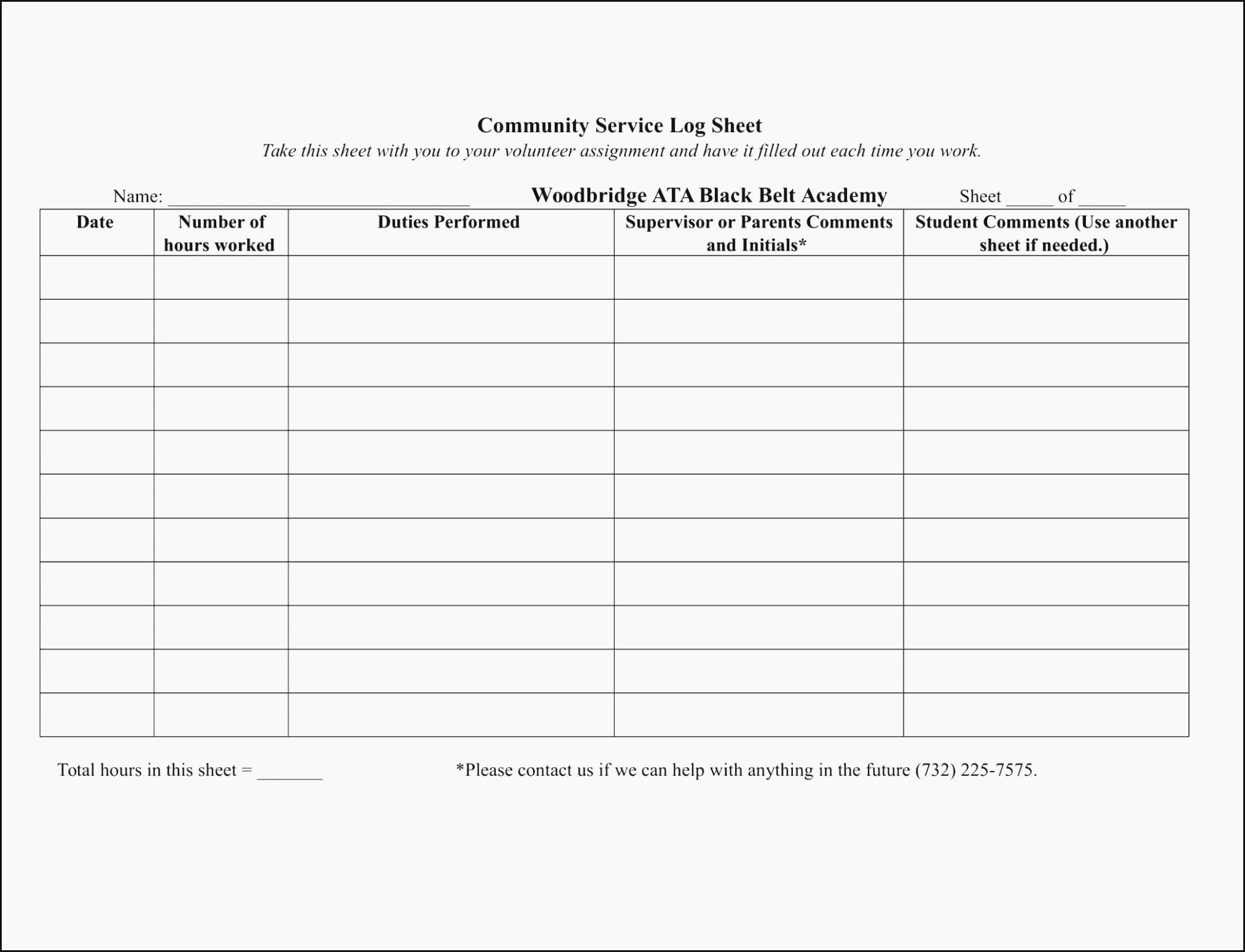 Community Service Hours form Template Luxury How You Can attend