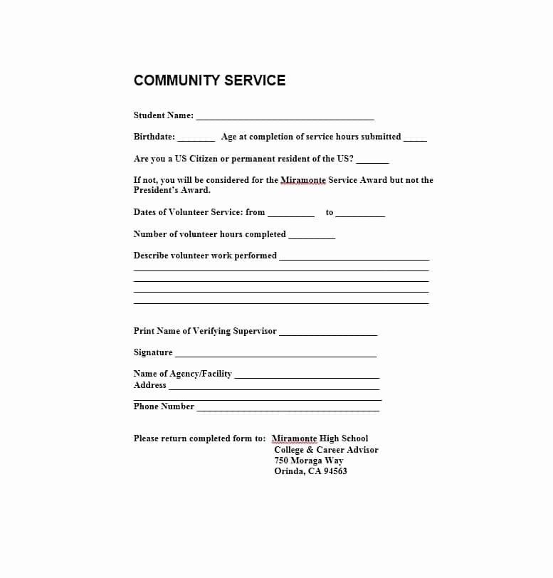 Community Service Hours form Template Luxury Munity Service Letter 40 Templates [ Pletion
