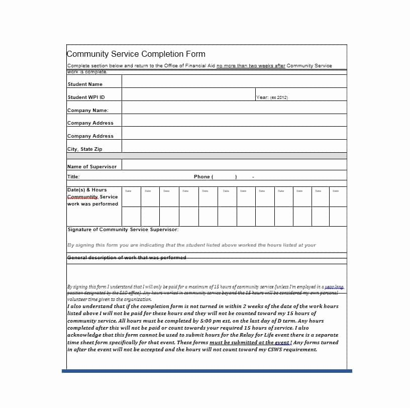 Community Service Hours form Template New Munity Service Letter 40 Templates [ Pletion