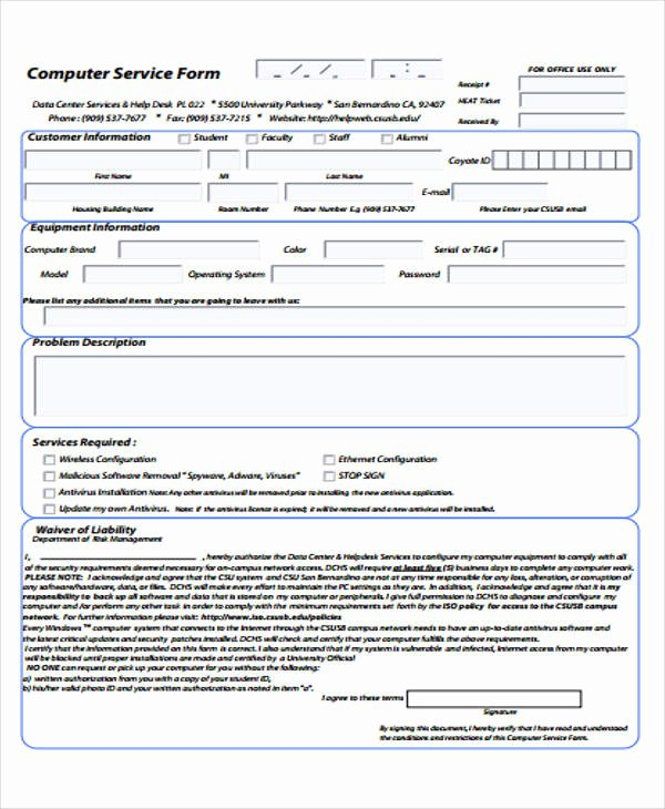 Computer Repair forms Template Beautiful 39 Free Receipt forms