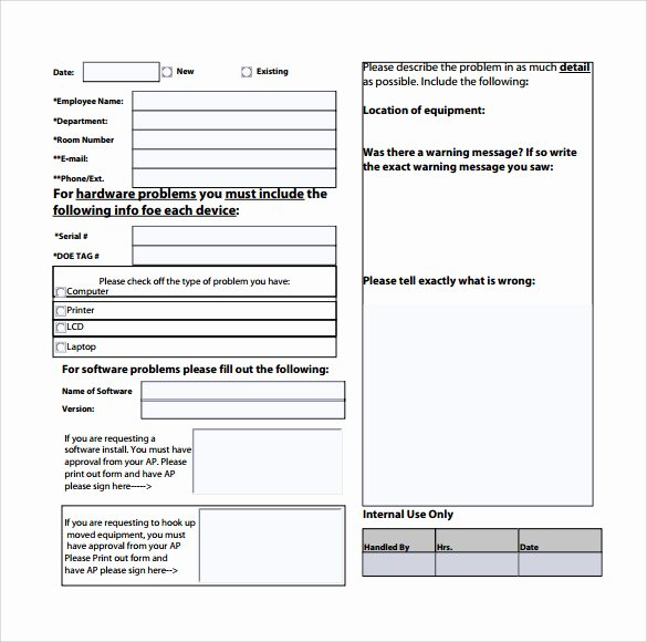 Computer Repair forms Template Fresh Sample Puter Service Request form 12 Download Free