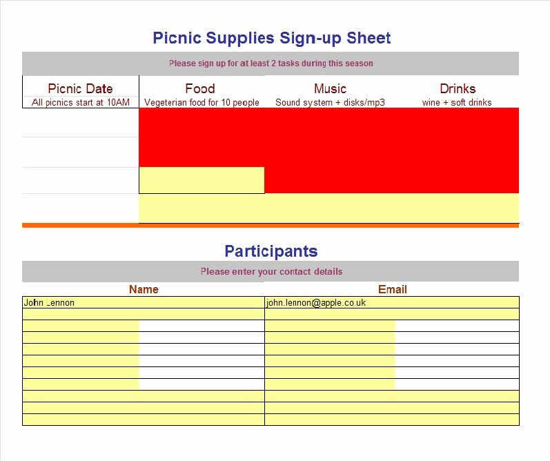 Concession Stand Schedule Template Inspirational 40 Sign Up Sheet Sign In Sheet Templates Word & Excel