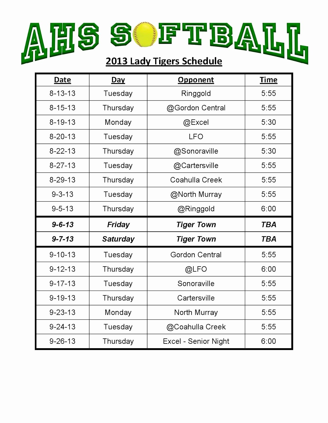 Concession Stand Schedule Template Inspirational Ahs softball