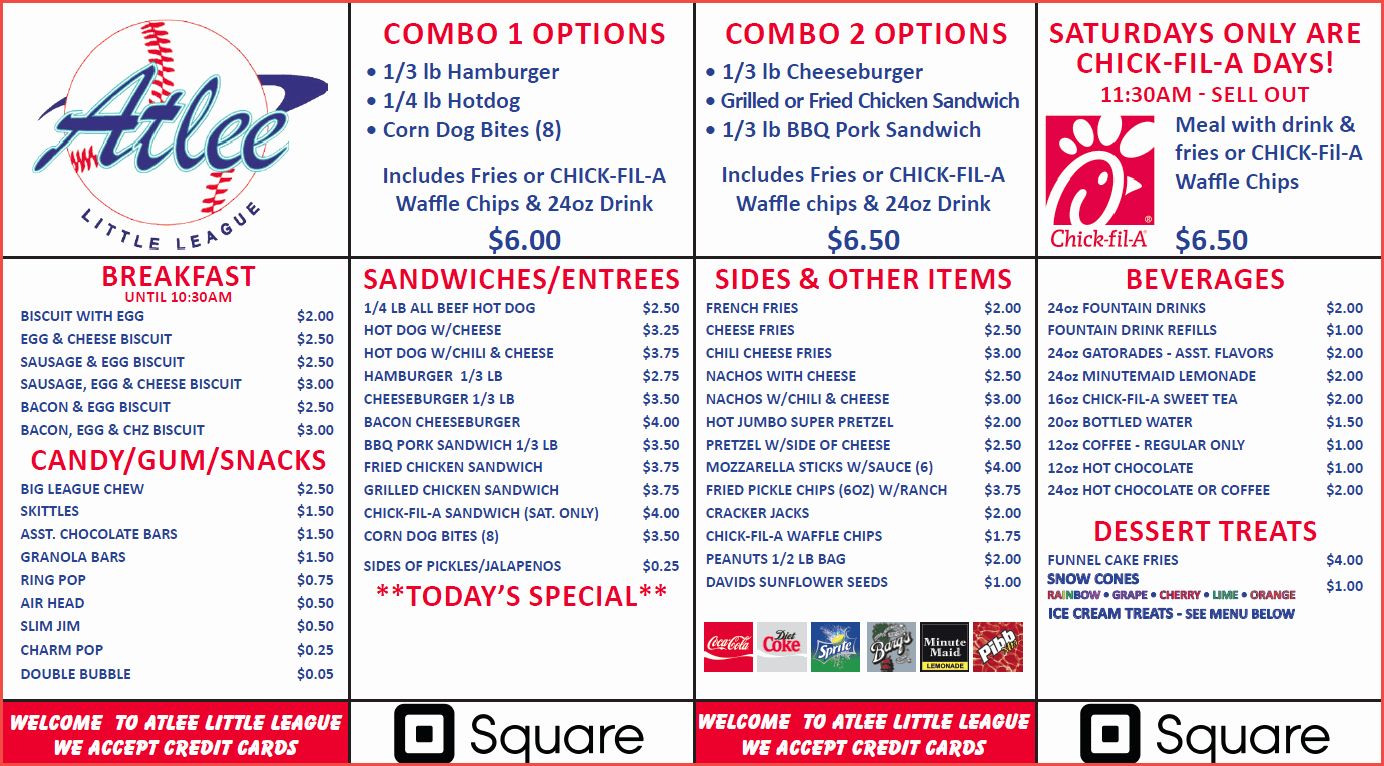 Concession Stand Schedule Template Lovely atlee Concession Stand Menu atlee Little League
