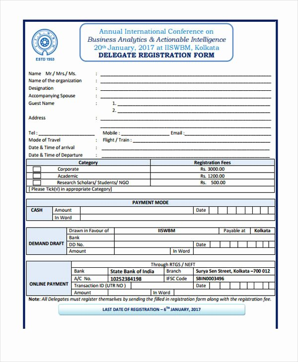 Conference Registration form Template Word Beautiful Free 20 Conference Registration form Examples In Pdf