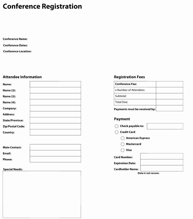 Conference Registration form Template Word Fresh form Design Category Page 2 Jemome