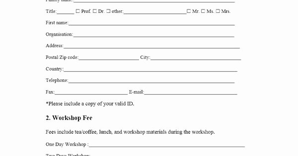 Conference Registration form Template Word New event Registration form Template Microsoft Word