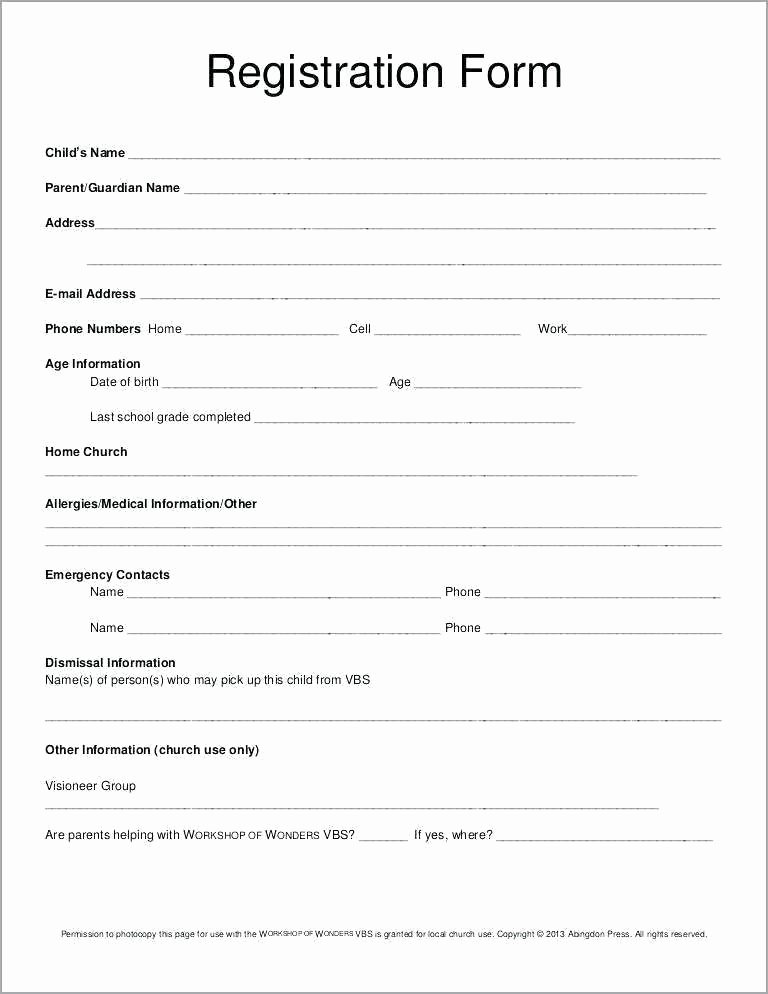 Conference Registration form Template Word New Registration form Template