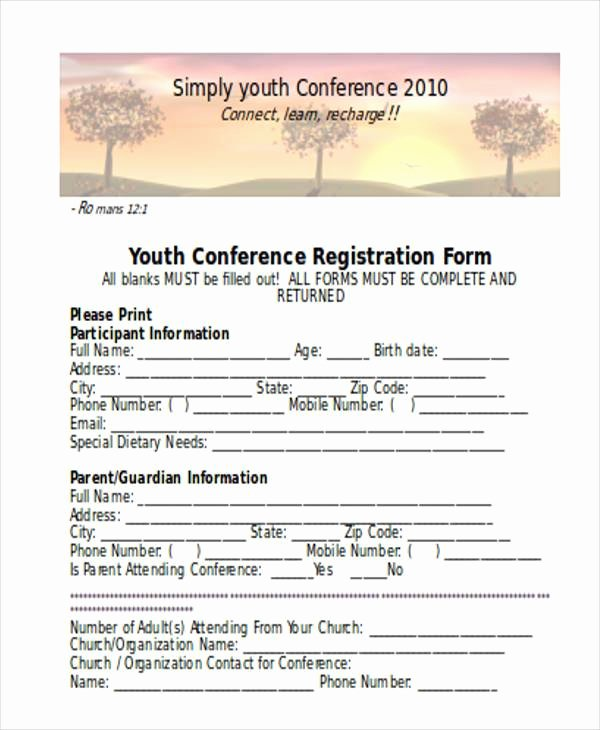 Conference Registration form Template Word Unique Free 38 Registration form Templates