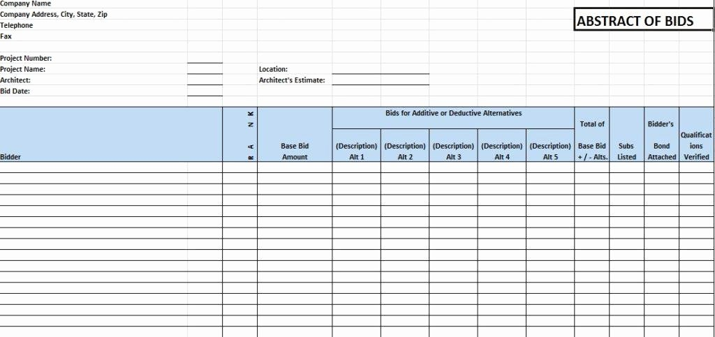 Construction Bid form Template Awesome Construction Bid Template Archives